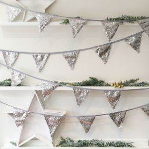 Christmas Silver Sequin Bunting - garlands & bunting