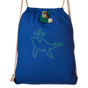 Humpback Whale Roll Up Drawstring Rucksack - backpacks