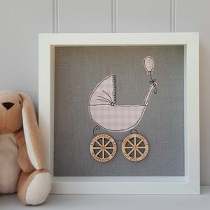 Personalised Fabric Baby Pram With Engraved Wheels - personalised