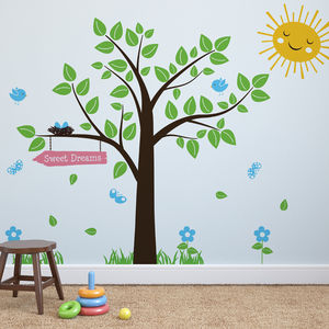 Tree With Birds And Butterflies Wall Stickers