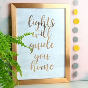 Lights Will Guide You Home Copper Foil And Marble Print - music