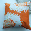 Real Galaxy Flowers On Orange Cushion Cover