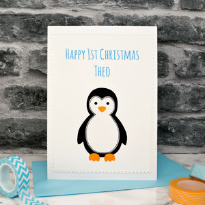 'Penguin' Handmade Childrens First Christmas Card