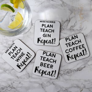 Personalised Plan Teach Repeat Coaster - new lines added