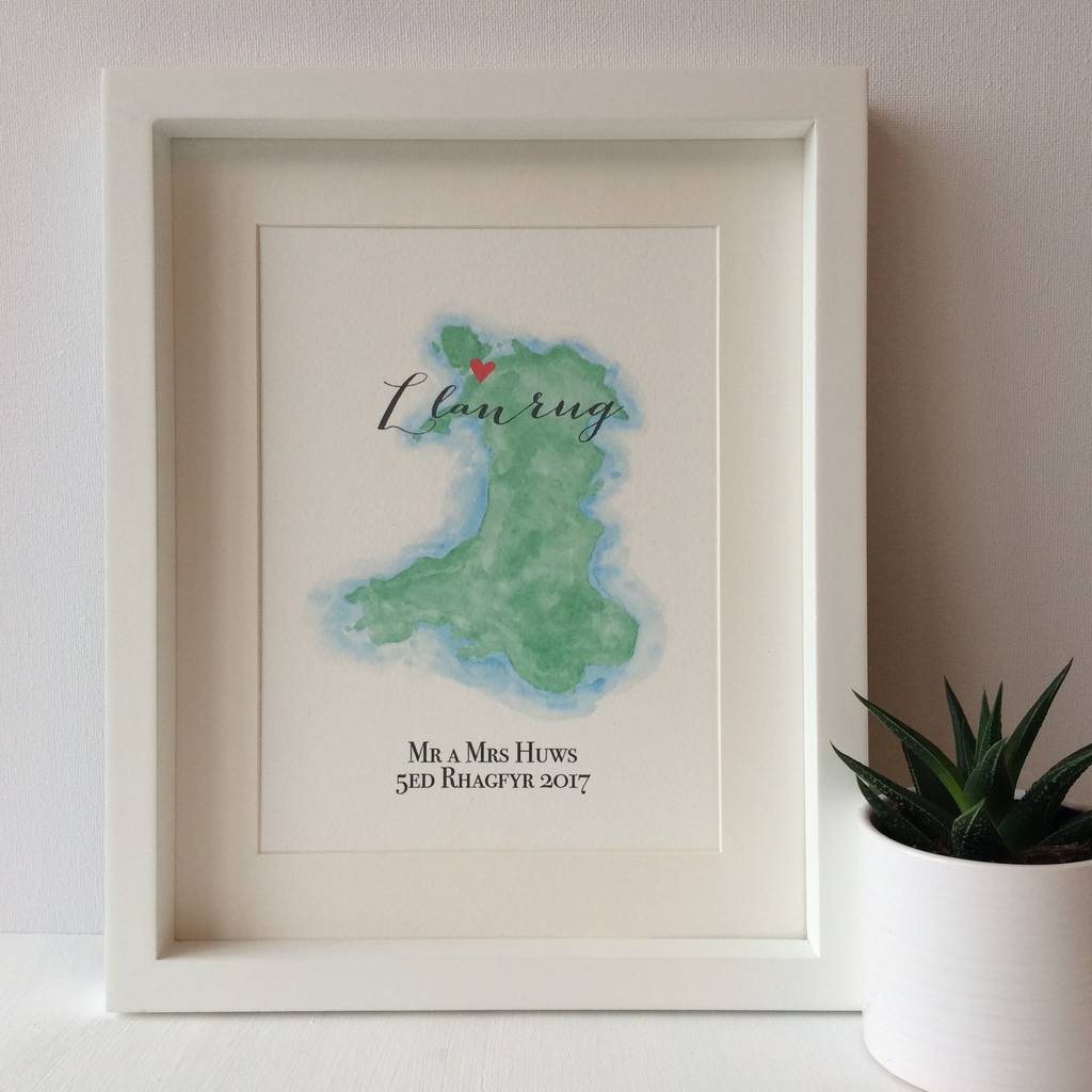 Personalised Wales Watercolour Map