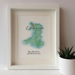 Personalised Wales Watercolour Map - paintings