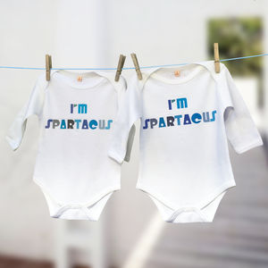 'I'm Spartacus' Babygrow Film Quote Gift Set For Twins