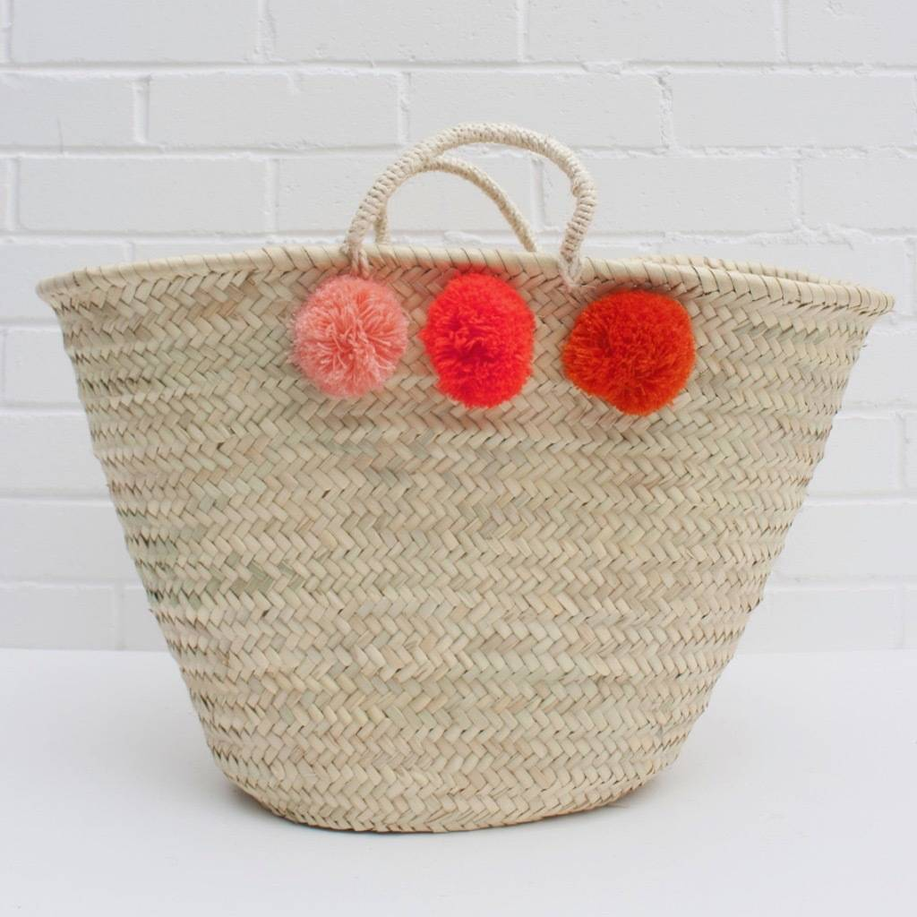 Wicker Basket With Pom Poms : Pom wicker basket by lisa angel notonthehighstreet