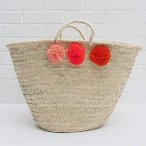 Pom Pom Wicker Basket