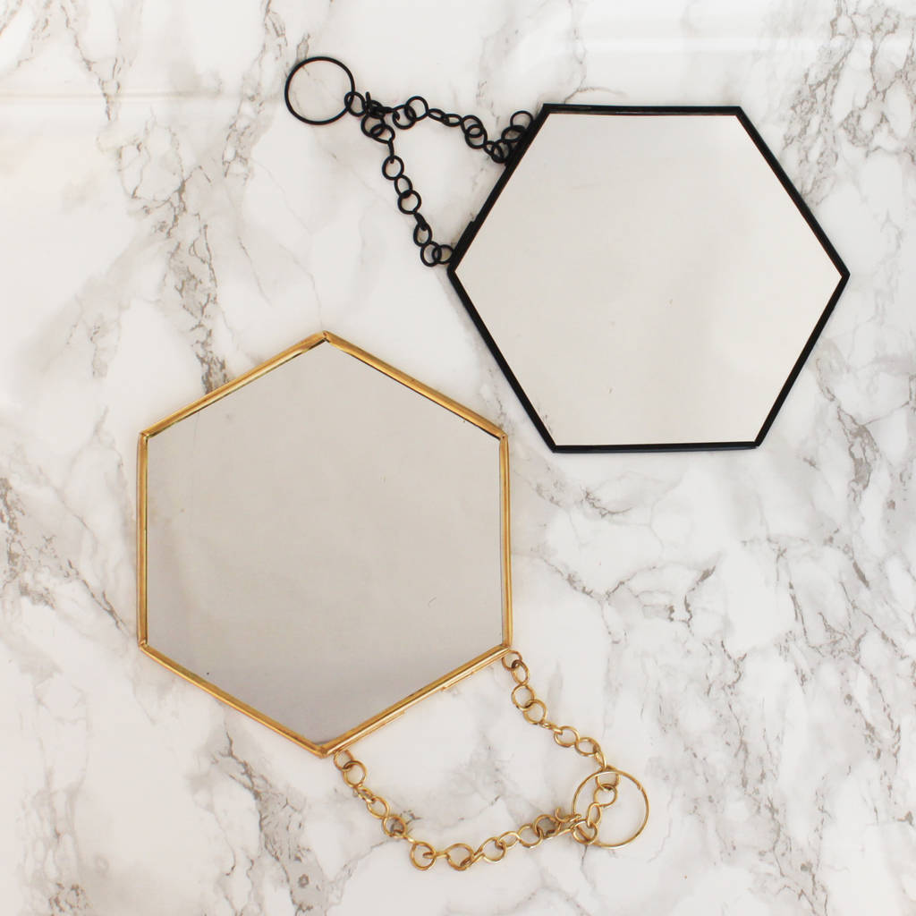 Black Hexagon Shaped Mirror By Posh Totty Designs