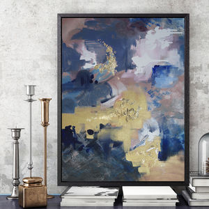 'Indigo Polo' Framed Giclée Abstract Canvas Print Art - modern & abstract