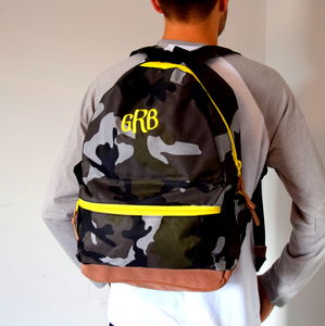 Mongrammed Camouflage Army Backpack - backpacks