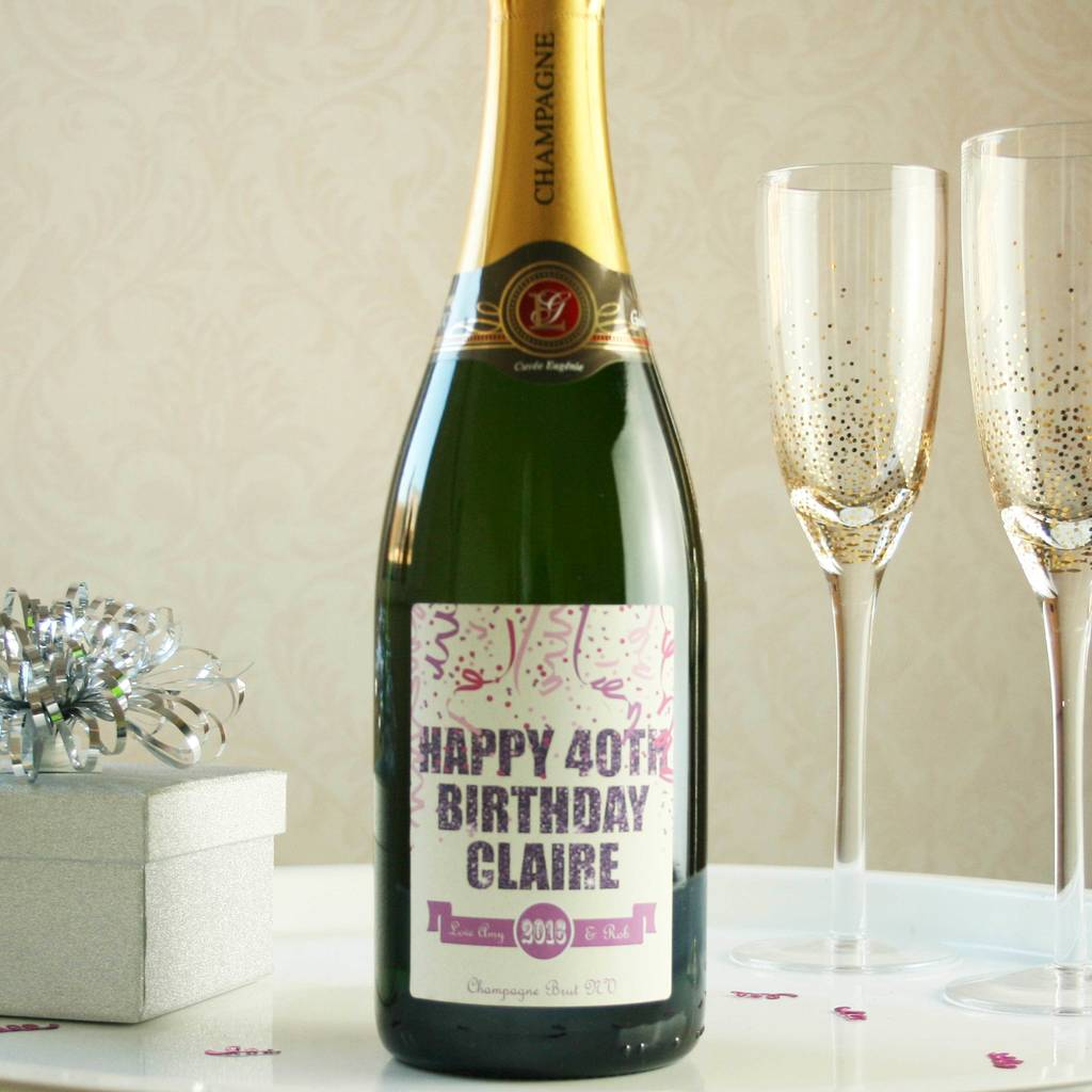 Personalised 40th Birthday Champagne By Bottle Bazaar