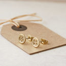 Gold Button Stud Earrings