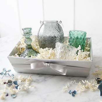 Emerald And Grey Glassware Gift Set