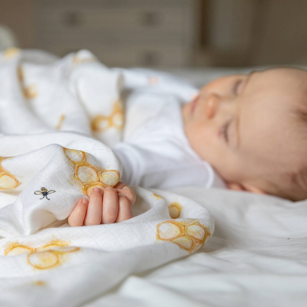 Bamboo Baby Swaddle Honeycomb Blanket by The Little Art Collection