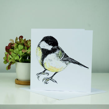 Illustrated Great Tit Greeting Card