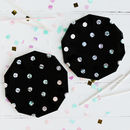 Black And Holographic Pop, Fizz, Clink Party Plates