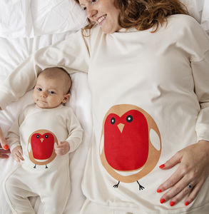 Mum And Baby Matching Set Robin Pyjamas - mother & child sets