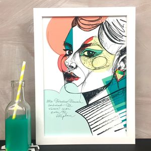 'Diamond Earrings' A La Mode Art Print - people & portraits
