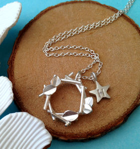 Botanical Wreath And Initial Star Necklace