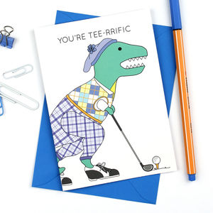 Dinosaur Golf Father's Day Greeting Card