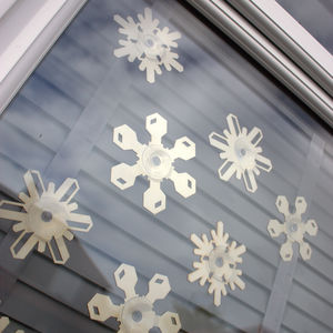 Set Of Wooden Snowflakes Window Decorations