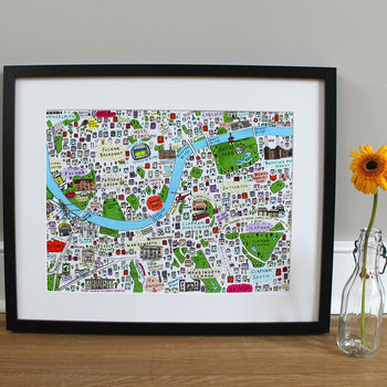 South West London Illustrated Map Print