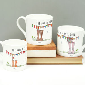 Personalised Set Of Welly Boot Family Mugs