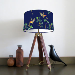 Navy Blue Bird Lampshade Design