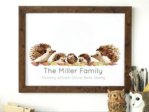 Personalised Hedgehog Family Portrait Print