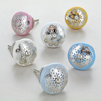 Silver Applique Flower Nest Ceramic Door Knobs