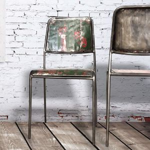 Mariner Steel And Reclaimed Wood Drum Dining Chair