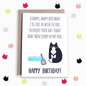 Funny Poem Birthday Card From The Cat - general birthday cards