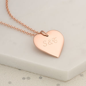 Personalised Rose Gold Or Silver Heart Necklace Large
