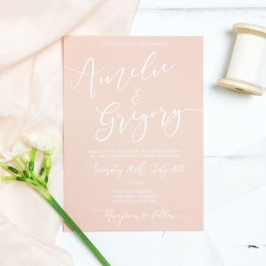 Delicate Blush Wedding Invitation And RSVP