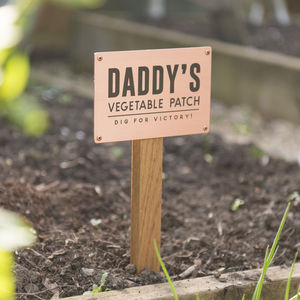 Personalised Solid Copper And Oak Vegetable Patch Sign