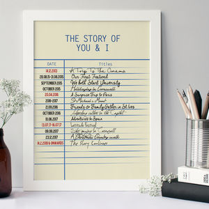 Personalised Story Library Card Print - gifts for couples