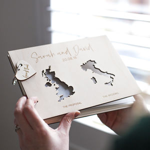 Personalised Duo Map Wedding Guest Book - albums & guest books