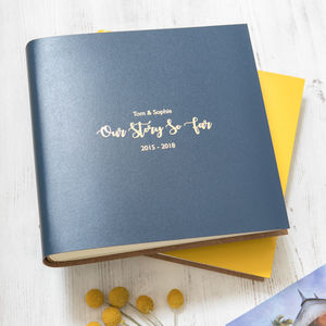 Personalised Square Leather Photo Album - 3rd anniversary: leather