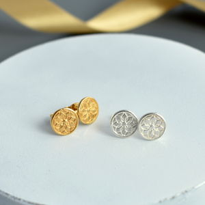Silver And Gold Dreamcatcher Stud Earrings