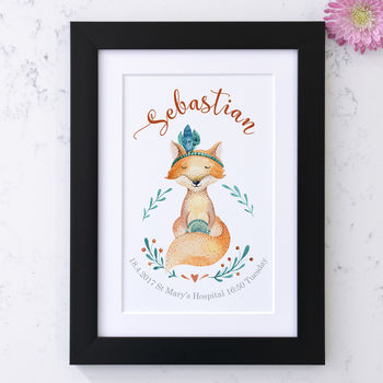 Personalised Baby Fox Birth Announcement Art