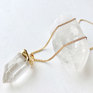 Hand Cut Quartz Pendant - summer sale