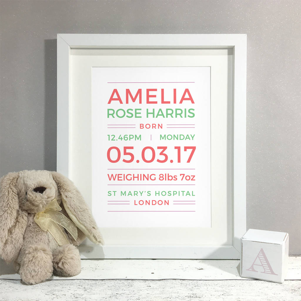 Personalised New Baby Name Print