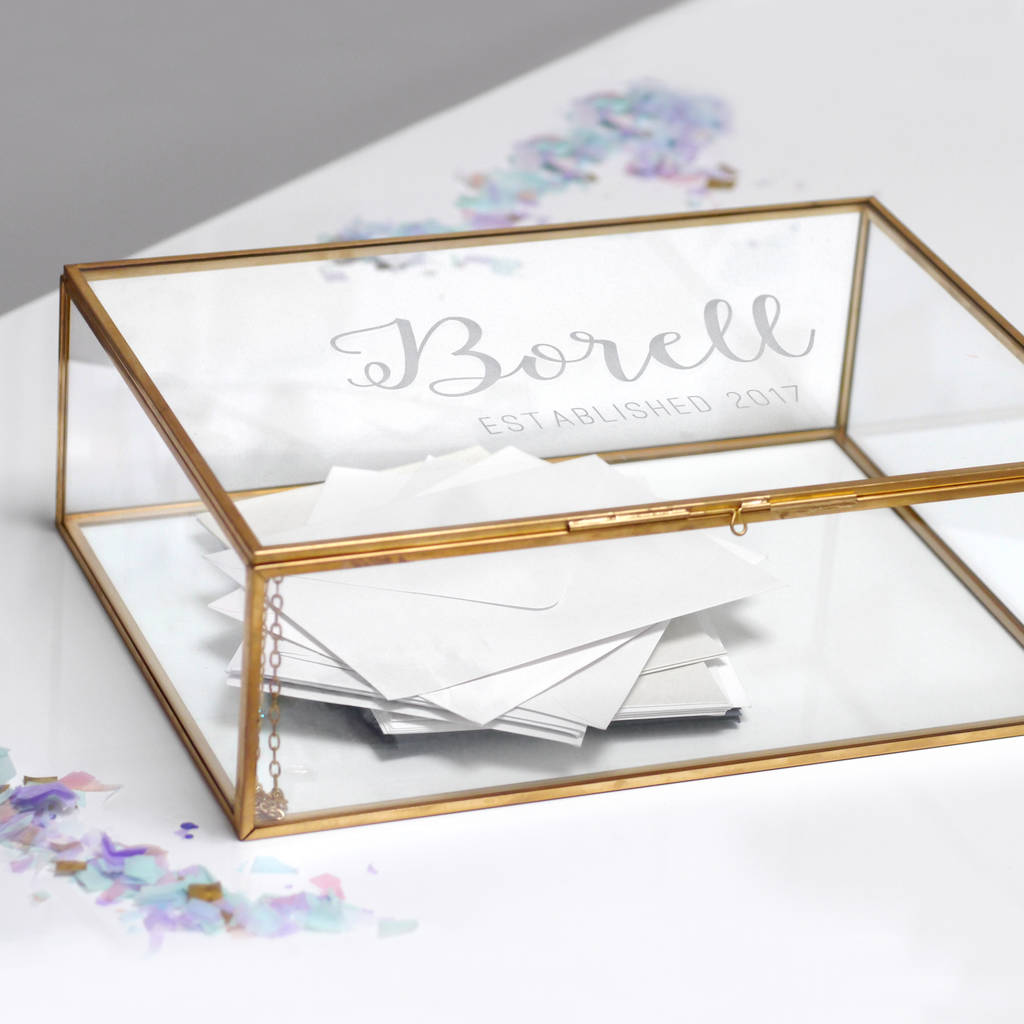 personalised large glass wedding card box by maria allen boutique – Large Wedding Card Box