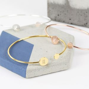 Personalised Double Disc Initial Bangle - new season
