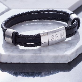 Personalised Jet Black Leather Bracelet
