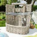 Personalised French Grey Willow Garden Basket Tools Set