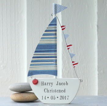 Blue Stripey Personalised Sailing Boat Gift