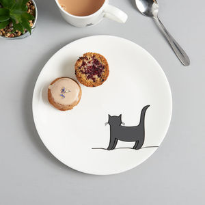 Standing Cat Side Plate, Fine Bone China